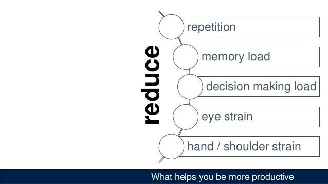 What helps you be more productive repetition memory load decision making load eye strain hand / shoulder strain reduce