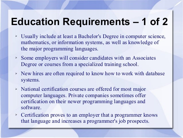 Merveilleux 3. Education Requirements ...