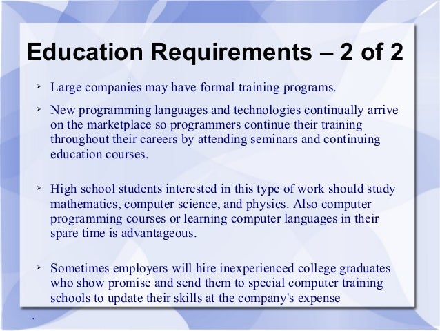 Lovely 4. Education Requirements ...