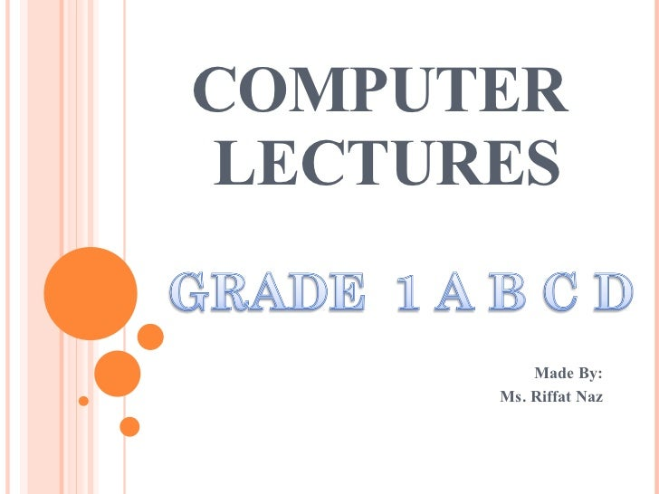 COMPUTER  LECTURES Made By: Ms. Riffat Naz