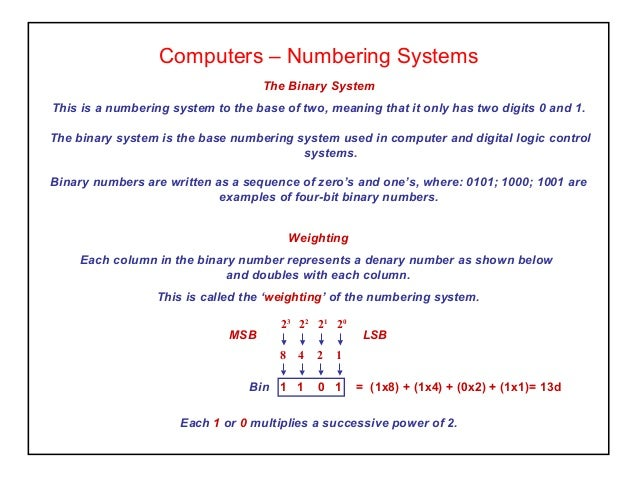 Computers – Numbering Systems The Binary System This is a numbering system to the base of two, meaning that it only has tw...