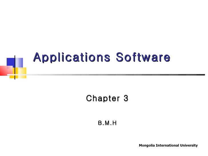 Applications Software Chapter 3 B.M.H