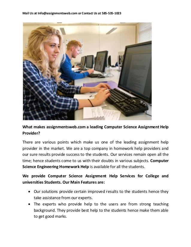 computational science homework help Our company offers you prompt homework help on computer science topics no matter how fast you need to get the feedback from our experts, they will be on time whenever you have any difficulties with java, c++ or any other language, contact us to get timely assistance.