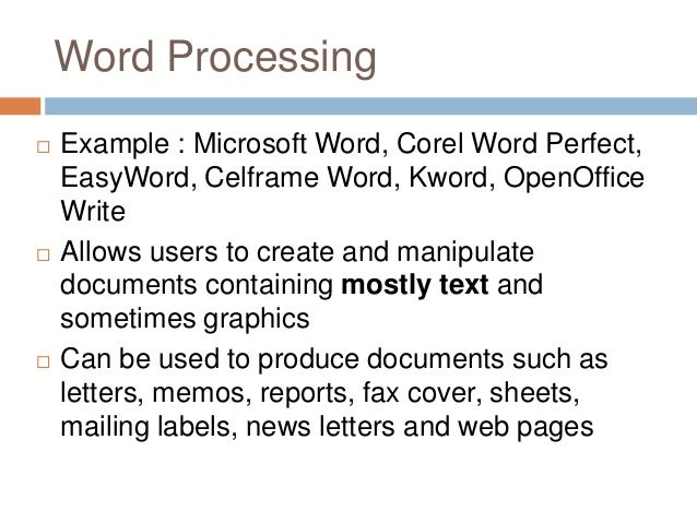 Four Samples Of Wordprocessing Software