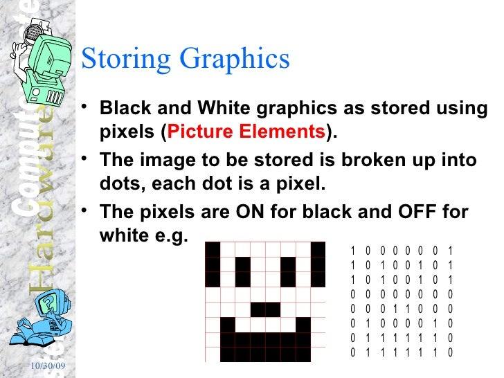Storing Graphics <ul><li>Black and White graphics as stored using pixels ( Picture Elements ). </li></ul><ul><li>The image...