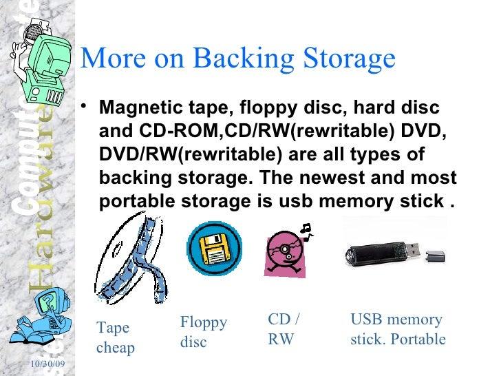 More on Backing Storage <ul><li>Magnetic tape, floppy disc, hard disc and CD-ROM,CD/RW(rewritable) DVD, DVD/RW(rewritable)...