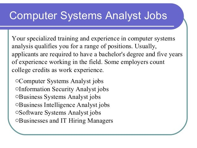 Computer Systems Analyst Jobs