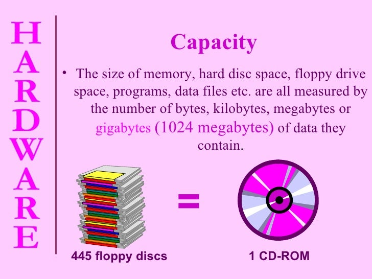 Capacity <ul><li>The size of memory, hard disc space, floppy drive space, programs, data files etc. are all measured by th...