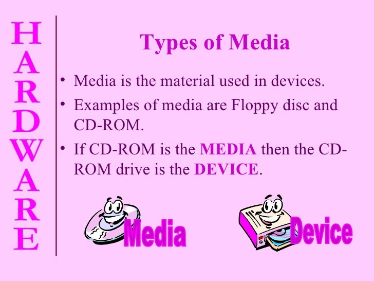 Types of Media <ul><li>Media is the material used in devices. </li></ul><ul><li>Examples of media are Floppy disc and  CD-...