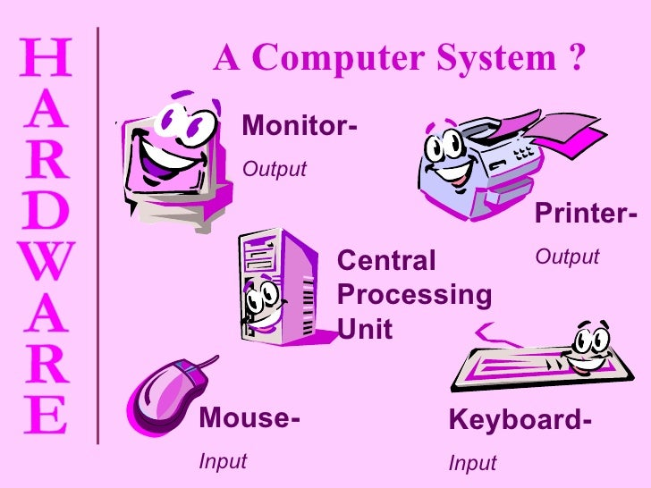 Monitor- Output Printer- Output Central Processing Unit Mouse- Input Keyboard- Input A Computer System ?