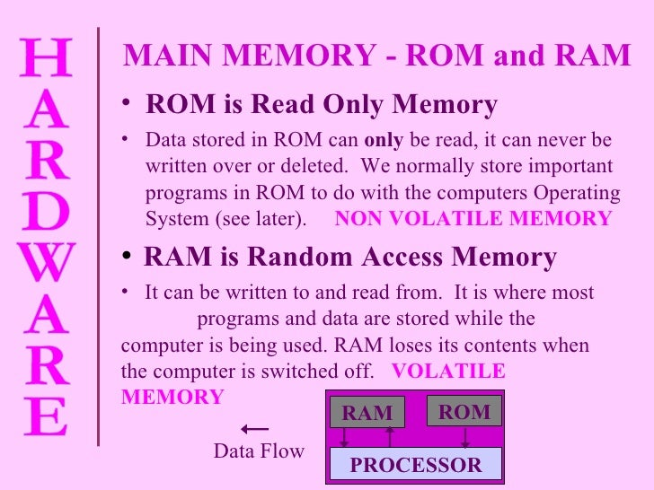 MAIN MEMORY - ROM and RAM  <ul><li>ROM is Read Only Memory </li></ul><ul><li>Data stored in ROM can  only  be read, it can...
