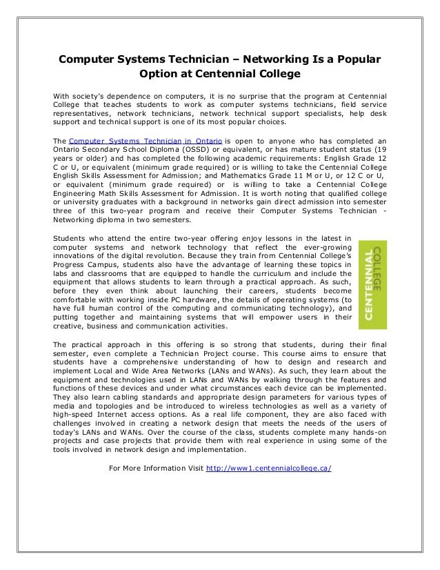 Computer Systems Technician – Networking Is a Popular Option at Centennial College With society's dependence on computers,...