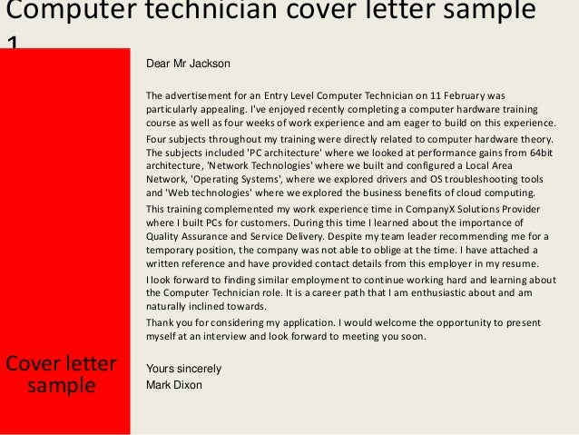 Computer technician cover letter for Sample cover letter for computer technician job