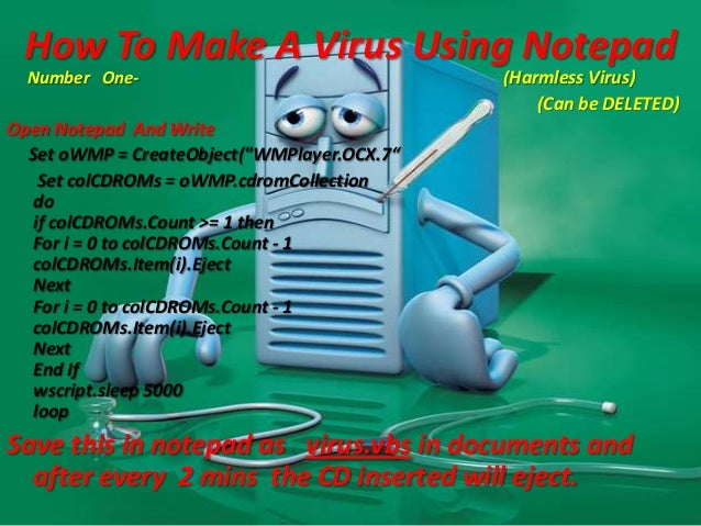 how to make a virus on notepad