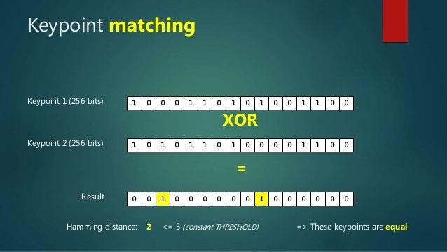 Keypoint matching Keypoint 1 (256 bits) 1 0 0 0 1 1 0 1 0 1 0 0 1 1 0 0 Keypoint 2 (256 bits) 1 0 1 0 1 1 0 1 0 0 0 0 1 1 ...