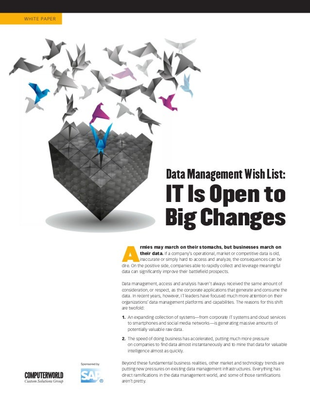 WHIT E PA P E R                                         Data Management Wish List:                                        ...