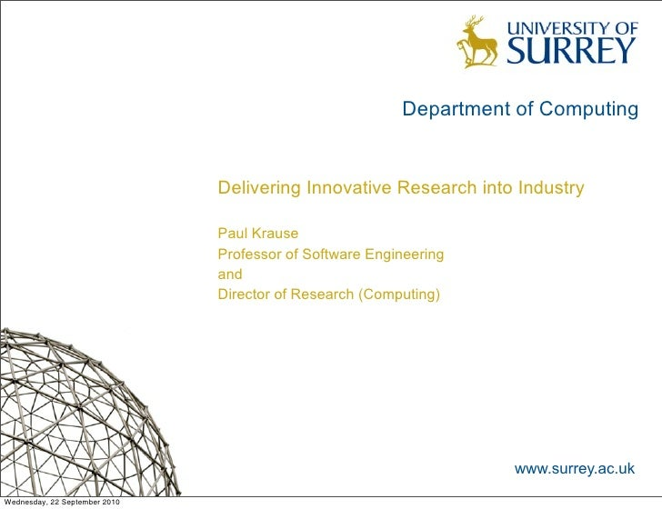 Department of Computing                                  Delivering Innovative Research into Industry                     ...