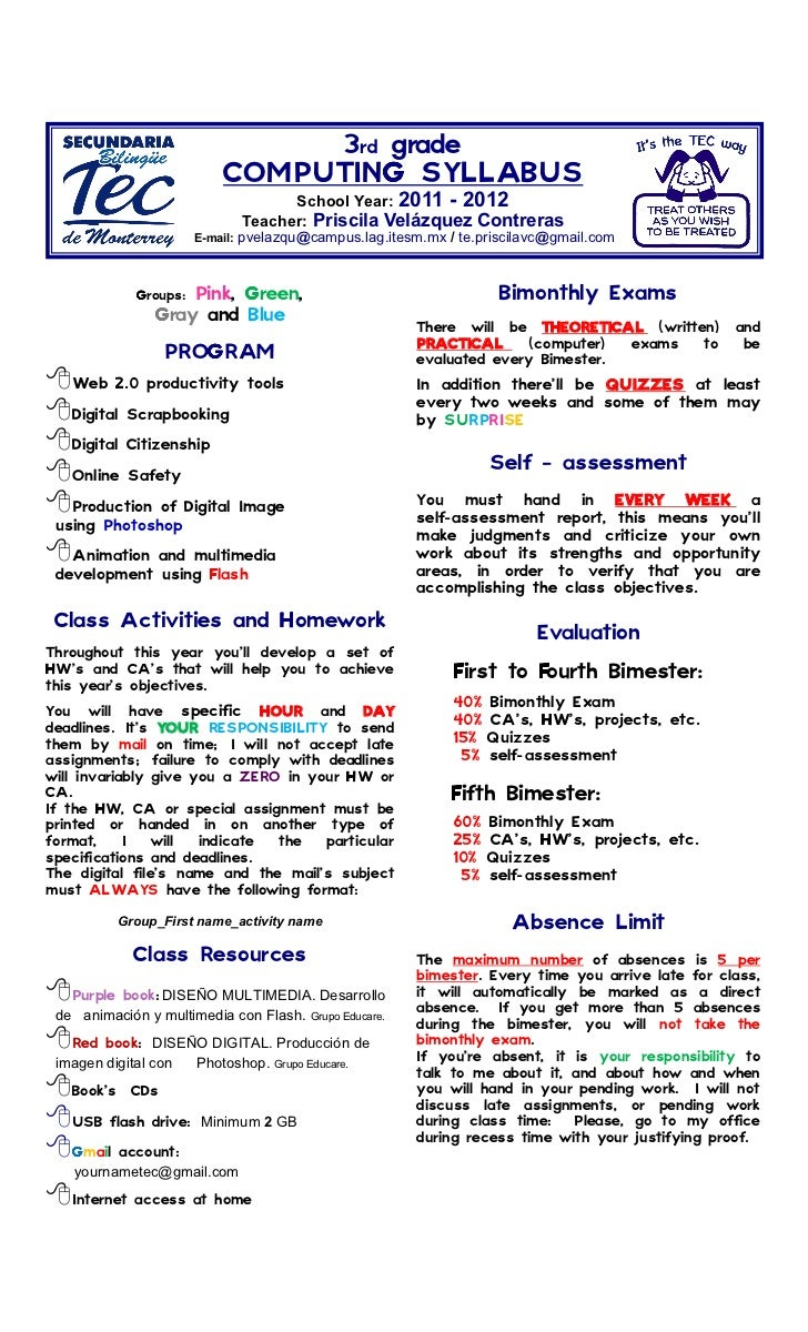 3rd grade                            COMPUTING SYLLABUS                                       School Year: 2011 - 2012    ...