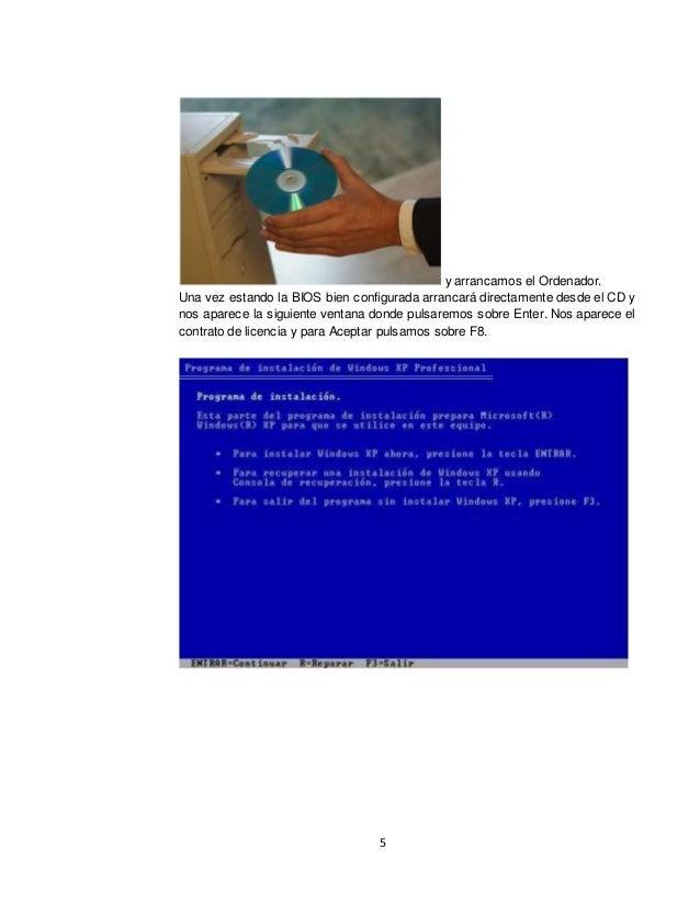 5  y arrancamos el Ordenador.  Una vez estando la BIOS bien configurada arrancará directamente desde el CD y  nos aparece ...