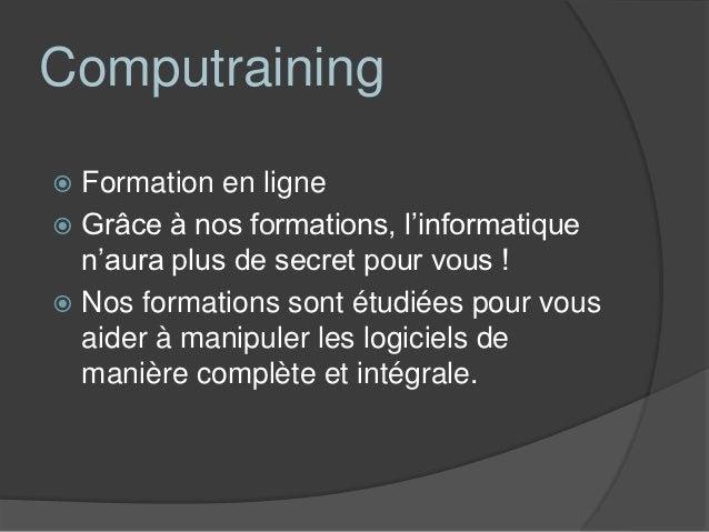 Découvrir Computraining Découvrez une de nos leçons grâce au  Flashcode inscrit au dos de notre carte  de visite. Nous v...