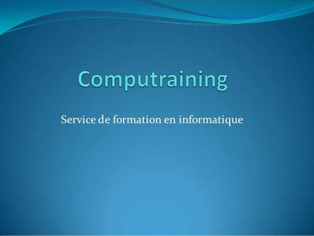Service de formation en informatique