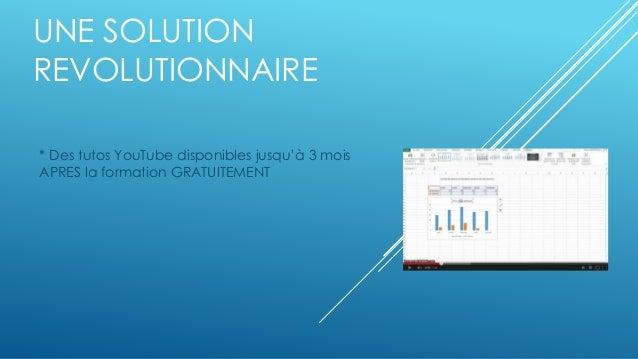 UNE SOLUTION  REVOLUTIONNAIRE  * Des tutos YouTube disponibles jusqu'à 3 mois  APRES la formation GRATUITEMENT
