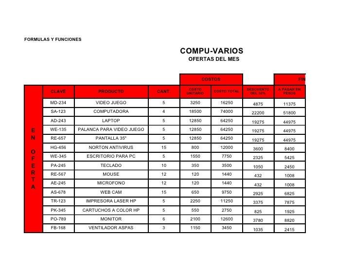 FORMULAS Y FUNCIONES                                                        COMPU-VARIOS                                  ...