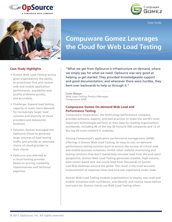 Case Study                                             Compuware Gomez Leverages                                          ...