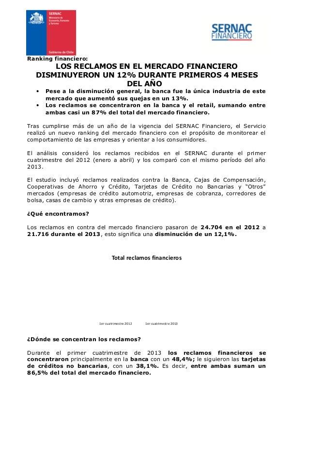 Ranking financiero: LOS RECLAMOS EN EL MERCADO FINANCIERO DISMINUYERON UN 12% DURANTE PRIMEROS 4 MESES DEL AÑO • Pese a la...