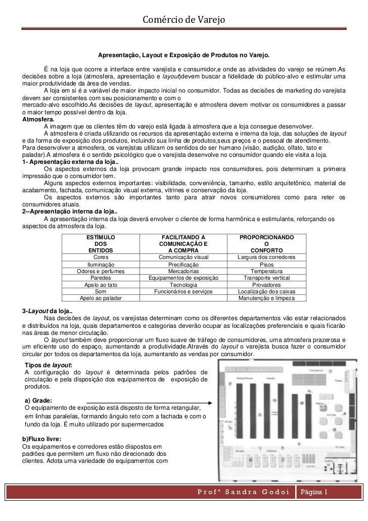 Comércio de Varejo                             Apresentação, Layout e Exposição de Produtos no Varejo.        É na loja qu...