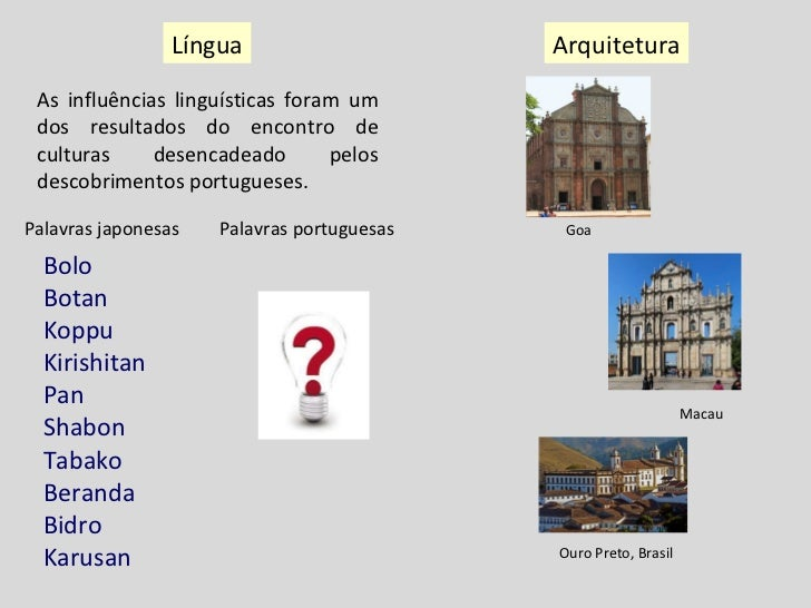 Língua Arquitetura As influências linguísticas foram um dos resultados do encontro de culturas desencadeado pelos descobri...
