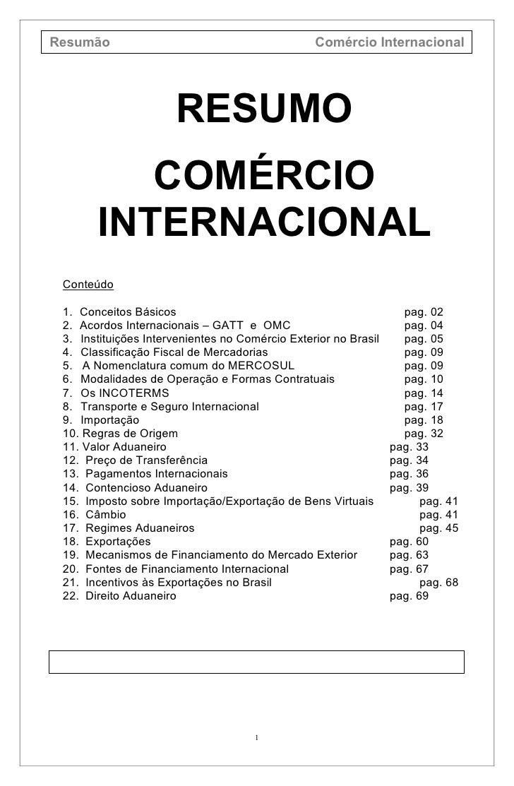Resumão                                          Comércio Internacional                      RESUMO          COMÉRCIO     ...