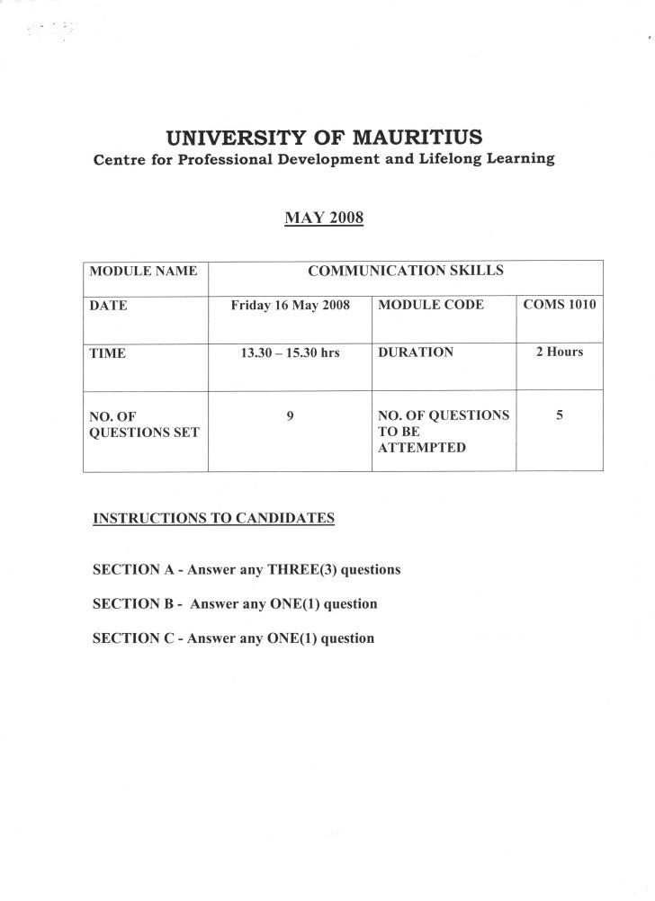 Coms1010   exam paper - may 08
