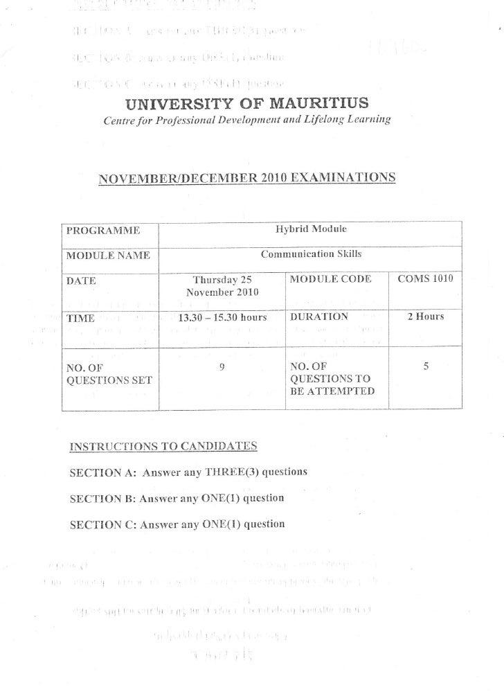 Coms1010   exam paper - nov10