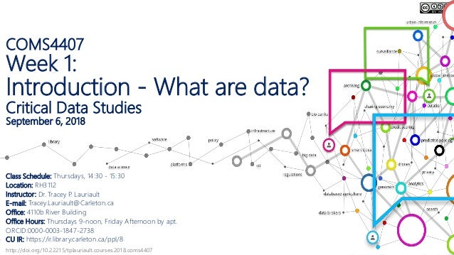 http://doi.org/10.22215/tplauriault.courses.2018.coms4407 COMS4407 Week 1: Introduction - What are data? Critical Data Stu...