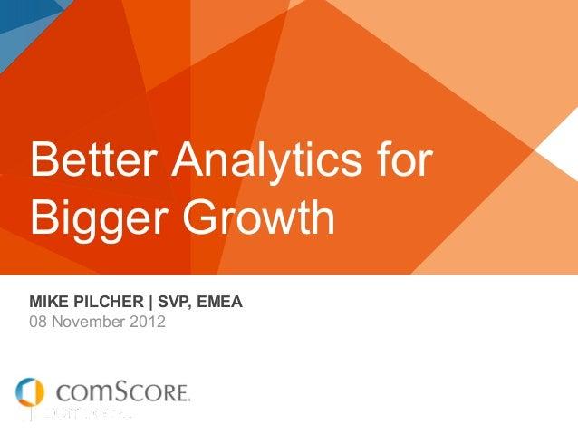 Better Analytics forBigger GrowthMIKE PILCHER   SVP, EMEA08 November 2012