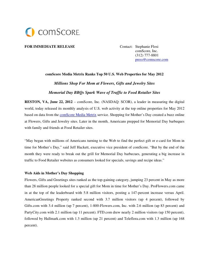 FOR IMMEDIATE RELEASE                                           Contact: Stephanie Flosi                                  ...