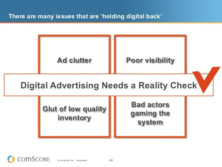 There are many issues that are 'holding digital back'                Ad clutter                             Poor visibilit...