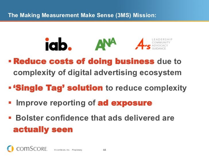 The Making Measurement Make Sense (3MS) Mission:§Reduce costs of doing business due to   complexity of digital advertisi...