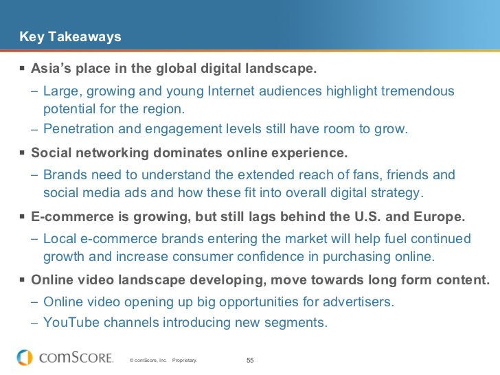 Key Takeaways§ Asia's place in the global digital landscape.  – Large, growing and young Internet audiences highlight t...