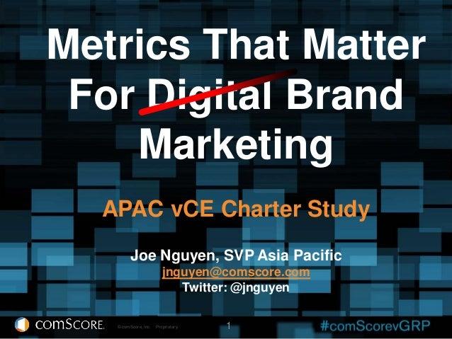 Metrics That Matter For Digital Brand    Marketing  APAC vCE Charter Study         Joe Nguyen, SVP Asia Pacific           ...