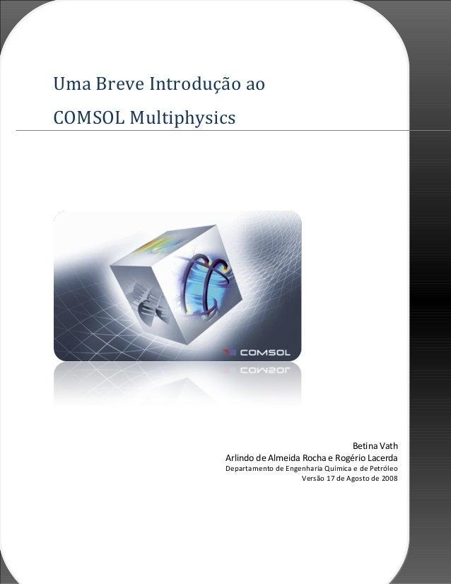 21deabrilde2008 Uma Breve Introdução ao COMSOL Multiphysics Betina Vath Arlindo de Almeida Rocha e Rogério Lacerda Departa...