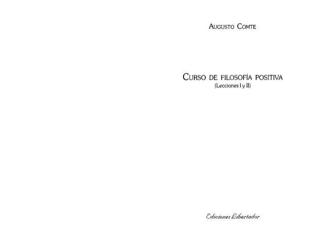 Comte, Augusto. Curso de Filosofia Positiva