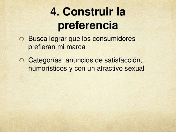 4. Construir la        preferenciaBusca lograr que los consumidoresprefieran mi marcaCategorías: anuncios de satisfacción,...