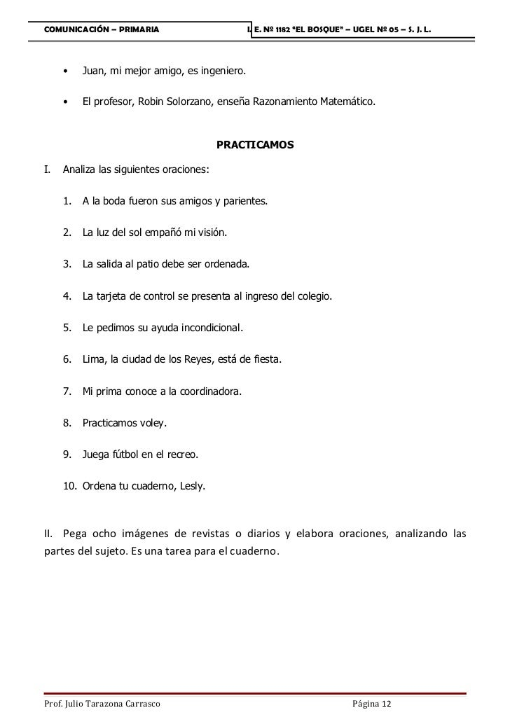 """COMUNICACIÓN – PRIMARIA                         I. E. Nº 1182 """"EL BOSQUE"""" – UGEL Nº 05 – S. J. L.     •    Juan, mi mejor ..."""