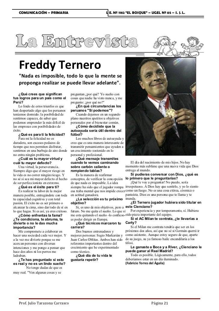 """COMUNICACIÓN – PRIMARIA                                         I. E. Nº 1182 """"EL BOSQUE"""" – UGEL Nº 05 – S. J. L.    Fredd..."""