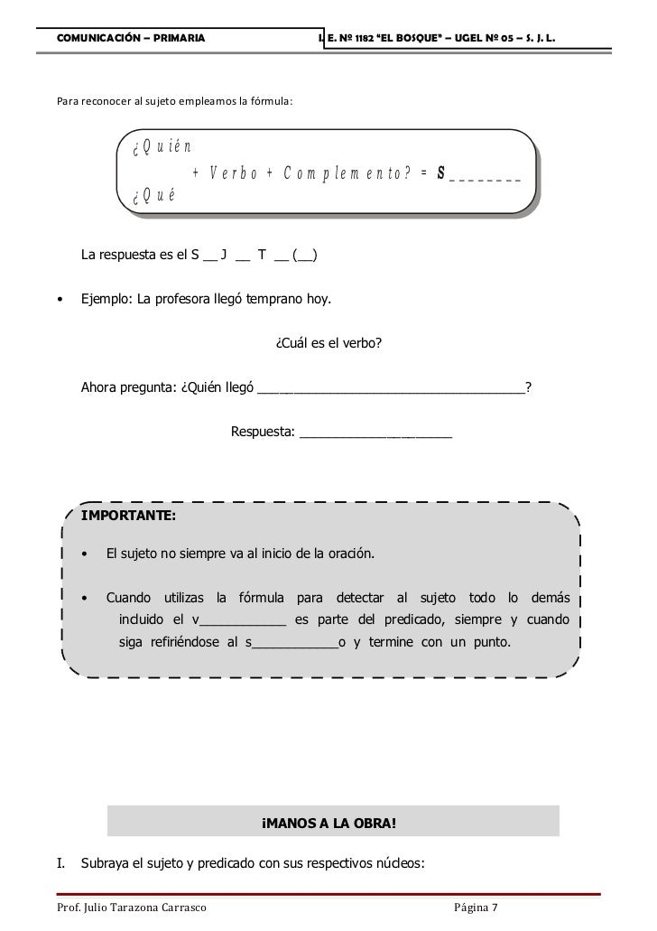 """COMUNICACIÓN – PRIMARIA                          I. E. Nº 1182 """"EL BOSQUE"""" – UGEL Nº 05 – S. J. L.Para reconocer al sujeto..."""
