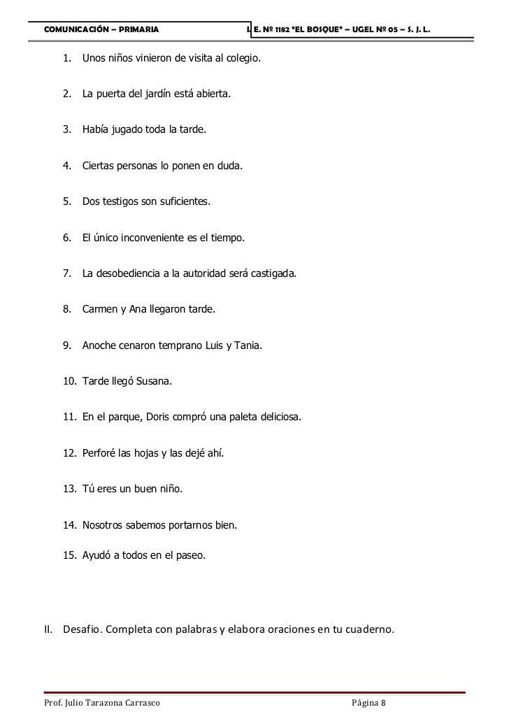 """COMUNICACIÓN – PRIMARIA                         I. E. Nº 1182 """"EL BOSQUE"""" – UGEL Nº 05 – S. J. L.    1.   Unos niños vinie..."""