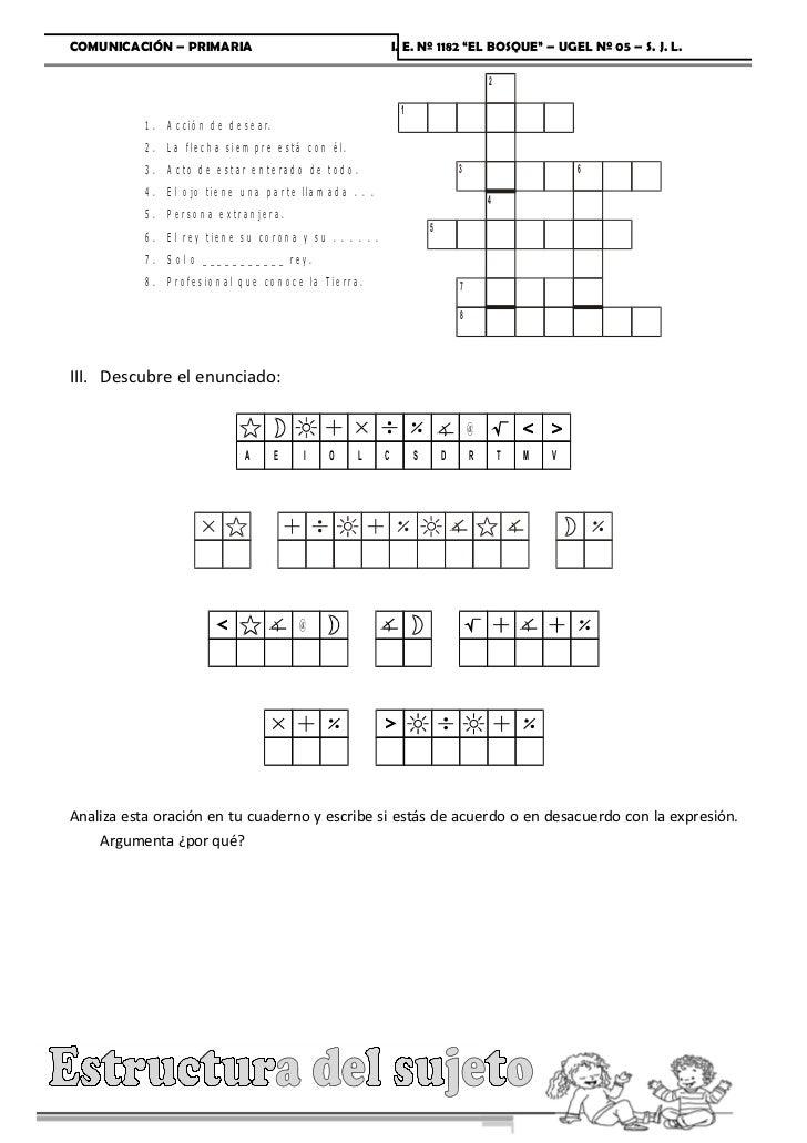 """COMUNICACIÓN – PRIMARIA                                                    I. E. Nº 1182 """"EL BOSQUE"""" – UGEL Nº 05 – S. J. ..."""