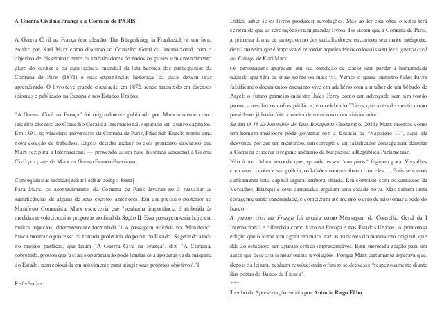 A Guerra Civil na França e a Comuna de PARIS A Guerra Civil na França (em alemão: Der Bürgerkrieg in Frankreich) é um livr...